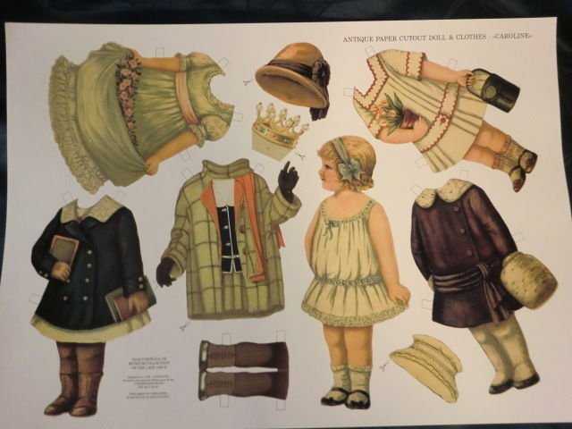 Antique Paper cutout Doll and Clothes